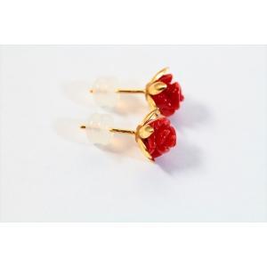 赤珊瑚薔薇彫りモチーフピアス K18|megumi-1|05