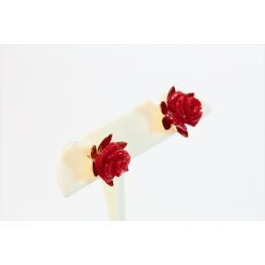 赤珊瑚薔薇彫りモチーフピアス K18|megumi-1|06