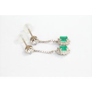 エメラルド ダイヤモンドチェーンピアス PT900|megumi-1|02