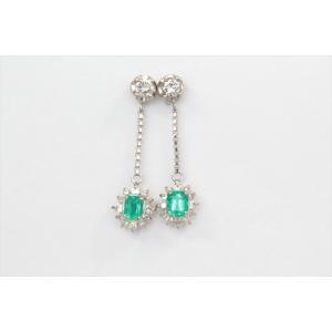 エメラルド ダイヤモンドチェーンピアス PT900|megumi-1|03