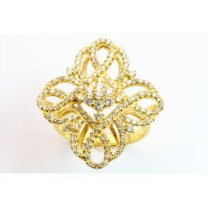 上質ダイヤモンド1.00ct透かしフラワーモチーフリング K18|megumi-1