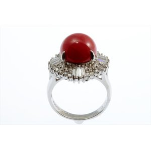 天然赤珊瑚 ダイヤモンドリング PT900|megumi-1