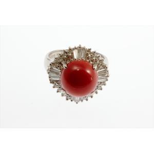 天然赤珊瑚 ダイヤモンドリング PT900|megumi-1|07