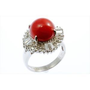 天然赤珊瑚 ダイヤモンドリング PT900|megumi-1|04