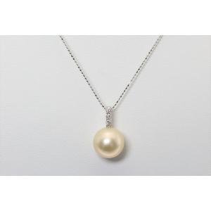 南洋ゴールドパール ダイヤモンド ネックレス K18WG 大玉 新品|megumi-1|02
