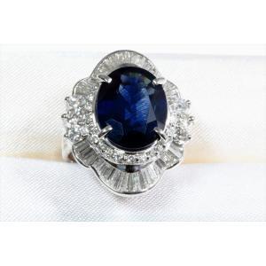 大粒ブルーサファイア ダイヤモンドリングpt900|megumi-1