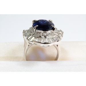 大粒ブルーサファイア ダイヤモンドリングpt900|megumi-1|02