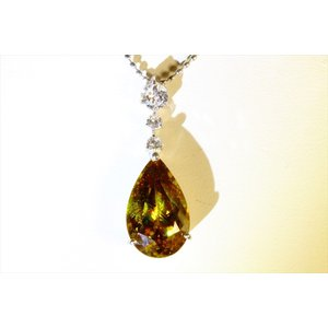天然スフェーン ダイヤモンドネックレス PT850|megumi-1