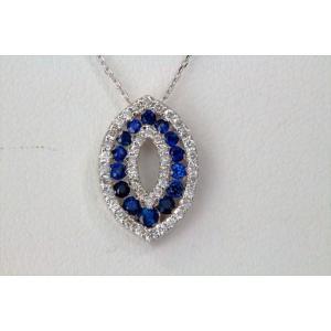 ブルーサファイア ダイヤモンドペンダント K18WG 新品 レディース|megumi-1