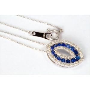 ブルーサファイア ダイヤモンドペンダント K18WG 新品 レディース|megumi-1|02