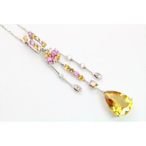 イエロー ベリル8.61ct  ダイヤモンド サファイア ネックレス K18WG 新品 レディース|megumi-1