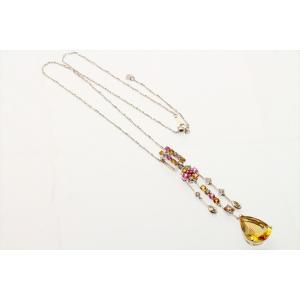 イエロー ベリル8.61ct  ダイヤモンド サファイア ネックレス K18WG 新品 レディース|megumi-1|07