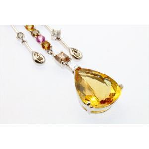 イエロー ベリル8.61ct  ダイヤモンド サファイア ネックレス K18WG 新品 レディース|megumi-1|08
