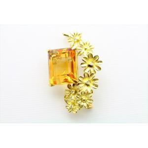 天然シトリン ダイヤモンド ブローチ&ペンダント K18|megumi-1|02