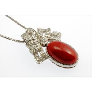 天然血赤珊瑚 ダイヤモンドネックレス PT900|megumi-1