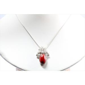 天然血赤珊瑚 ダイヤモンドネックレス PT900|megumi-1|02