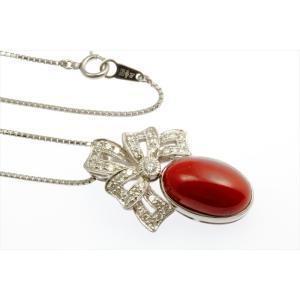 天然血赤珊瑚 ダイヤモンドネックレス PT900|megumi-1|05