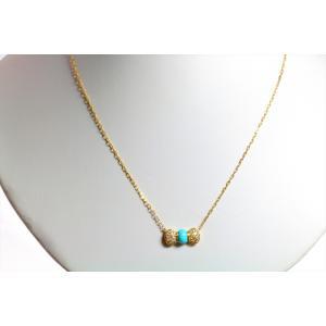 アリゾナ産 天然ターコイズ(トルコ石) ダイヤモンド リボンモチーフネックレス K18|megumi-1|05