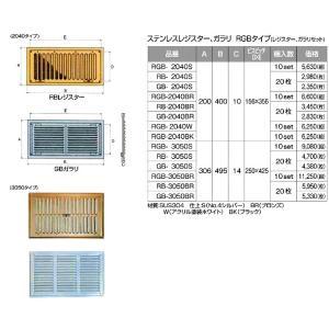 ステンレスレジスター ガラリ RGBタイプ GB 3050S サイズ A306xB495xC14 ビスピッチ250x425 シルバー 入数20枚