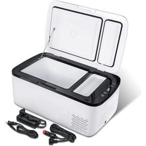 車載冷蔵庫 20L 冷凍庫 -22〜10℃ 二室タイプ コンプレッサー搭載 ポータブル冷蔵庫 12V 24V DC/AC 軽量 静音 急速冷凍 省エネ 冷凍冷蔵庫 車載/家庭用 1年保証|meichepro