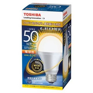 E-CORE[イー・コア] LED電球 一般電球形 光が広がるタイプ 全光束640lm 調光器具対応 LDA8L-G-K/D/50W 1個 東芝 【メーカー直送/代金引換決済不可】