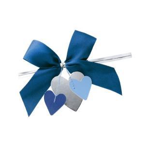 リボン付きワイヤータイ ハートモチーフ ブルー 10個|meicho2