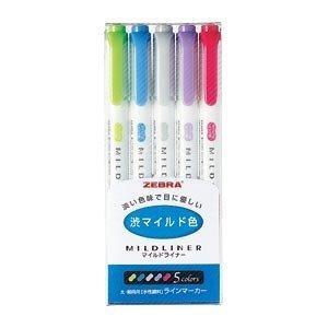 マイルドライナー 5色セット WKT7-5C-NC インク色:マイルドレッド、マイルドグリーン、マイルドダークブルー、マイルドバイオレット、マイルドグレー ゼブラ【 meicho2