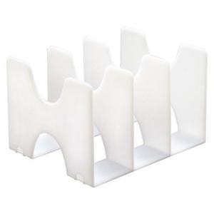 タテ・ヨコ使えるブックスタンド。引き出しの中での使用も可能。●本体色:ホワイト●規格:A4判3仕切●...