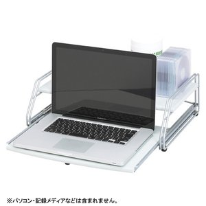 ノートパソコンラック CR-PA20-LGR ライトグレー 1台 クラウン 【メーカー直送/代金引換決済不可】|meicho