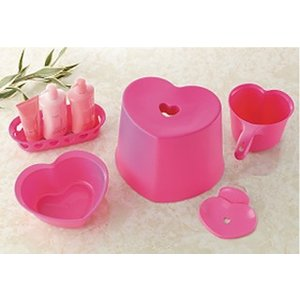 ハート 風呂イス 5点セット ピンク|meicho