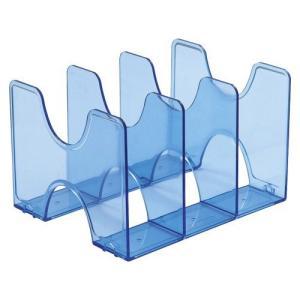 タテ・ヨコ使えるブックスタンド。引き出しの中での使用も可能。●本体色:クリアブルー●規格:A4判3仕...