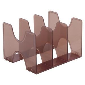 タテ・ヨコ使えるブックスタンド。引き出しの中での使用も可能。●本体色:クリアブラウン●規格:A4判3...