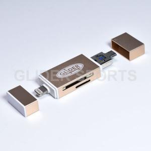 iPhone ライトニング Lightning カードリーダー 金 MicroSD・SDカード / ...