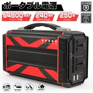ポータブル電源 大容量67500mAh/250Wh 家庭用蓄電池 純正弦波 AC/DC/USB出力 ...