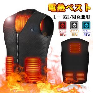 電熱ベスト 電熱ジャケット男女兼用 水洗い ネッスルジャージ使用 5つヒーター 3段調温 軽量 ぽか...