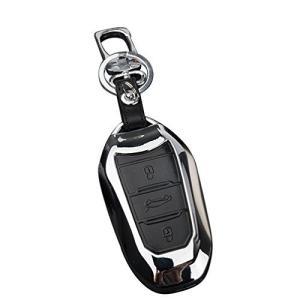 Idaii プジョー(Peugeot) スマートキー対応 キーケース キーカバー キーホルダー 傷 汚れなど防止 (シルバー)|meki