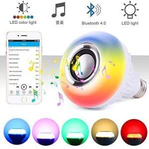 Shengshou LED電球スピーカー 高音質 音楽電球 スピーカー内蔵 調光調色 音楽再生 省エネ マルチカラー ワイヤレス リモコン操作 スマホ|meki