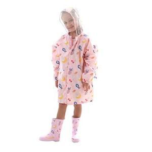 【Smart-Bear】T003 レインコート レインウェア 雨具 キッズ 子供 レインコート 可愛い 超軽量 通学 リュック対応 トリ 果物 花柄|meki