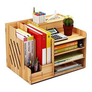 卓上収納ケース 大容量 オフィス収納 机上収納ボックス A4 対応 ペン入れ 新聞/雑誌/書類/文具用品収納 机上ラック 木製 事務用 デスク整理整頓|meki
