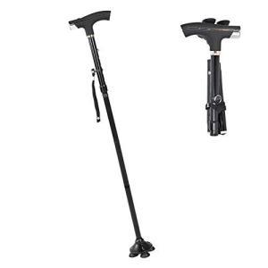 杖 ステッキ 4点杖 老人の杖 折りたたみ式 LEDライト搭載 5段階 調整可能なデザイン 超軽量 滑り止め 壊れない 軽量 高齢者 介護 介助 歩行|meki