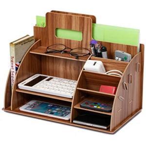 木製棚デスクトップ収納ラックデスク収納ラックデスクトップ組織ファイル添付ストレージ文具ホルダー 書類ケース デスク上置棚 横仕切り 文具 小物 スッキ|meki