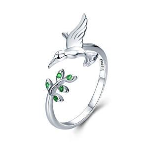 リング 婚約指輪 調節可能 925スターリングシルバーの鳥の木は緑 のキュービックジルコニア リング 誕生日 記念日 結婚式 ズ プレゼント|meki