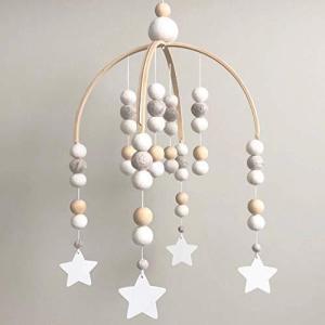 [Amieux] ベッドメリー メリー モビール ベビー 木製 北欧 ((1)White&Star)