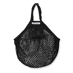 ディーン & デルーカ ネットバッグ ブラック エコバッグ コンパクト 折りたためる 軽量 編みバッグ 本体:h400×w320mm、ハンドル全長300|meki