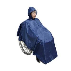 Carecoa 車いすレインコート 車椅子レインコート 収納袋付き 透明バイザーで視界良好 車いす ポンチョ 雨具 (ネイビー)|meki