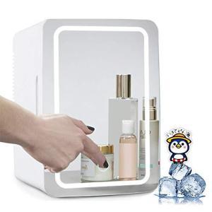 HANSHUMY 8L化粧品冷蔵庫 -2℃〜65℃ LED化粧鏡 保冷 保温 ポータブル ミニ 小型 100V 12V タッチ式明るさ調整 1ドア ス|meki