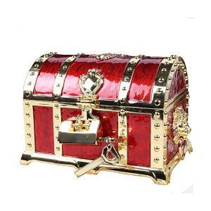 アンティーク RPG 宝箱 海賊 財宝 鍵2本付き ジュエリーボックス 小物入れ アクセサリーケース (紅色) mekoda-store