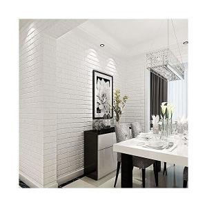 HaokHome 030 DIY レンガ タイル ブロックホワイト壁紙 壁用 おしゃれ ブリックパターン ストーン 3D 屋内 ベッドルーム装飾 5|mekoda-store