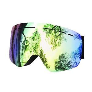 Greatever 高視認性スキーゴーグル 広視界を確保スノーゴーグル 曇り防止/防雪/防風ゴーグル...