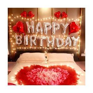 誕生日 バルーン HAPPY BIRTHDAY 風船 飾り付け セット パーティー 装飾 風船 リボン 花びら 付き J035 mekoda-store